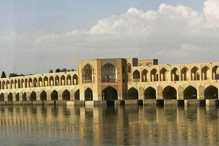 """In words of Upham Pope and Jean Chardin, Khaju bridge is """"the culminating monument of Persian bridge architecture and one of the most interesting bridges extant...where the whole has rhythm and dignity and combines in the happiest consistency, utility, beauty, and recreation"""